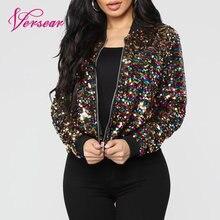 Versear, Женская куртка-бомбер, Яркая блестящая куртка с длинным рукавом на молнии, крутая уличная Клубная одежда, Весенняя Осенняя верхняя одежда