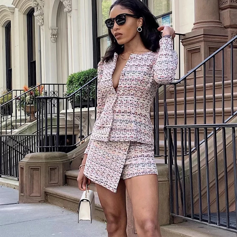 streetwear tweed plaid two-pieces women skirt suit Casual suits female blazer sets Chic office ladies women blazer suit