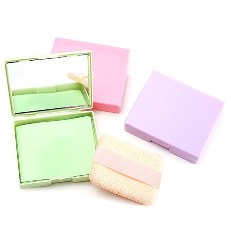 1 Pc Portable Facial Absorbent Paper Wipes Oil Control Face Cleanser Green Tea Rose Lavender With Mirror Men Women Random Color