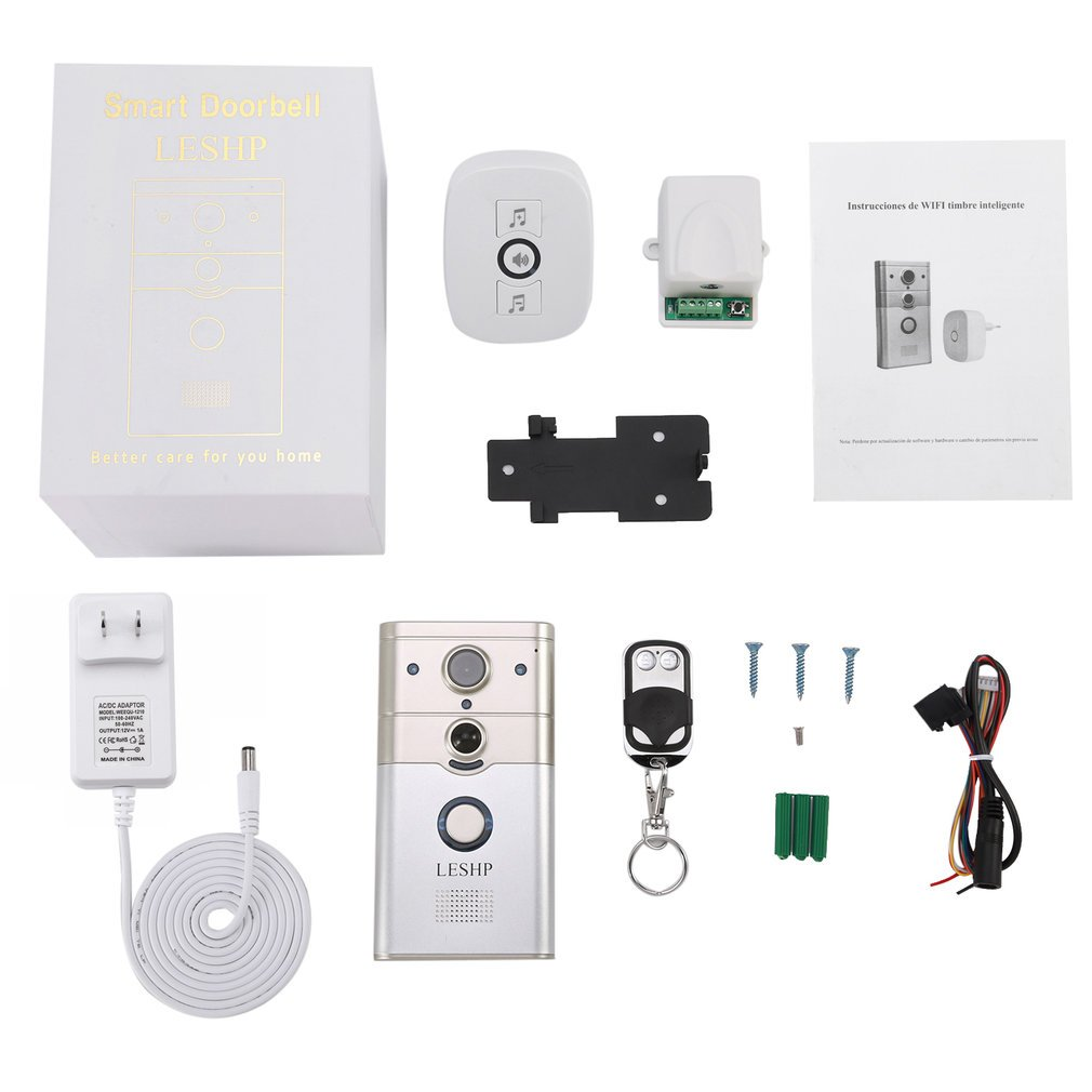 Wireless Remote Control Electronic Visible HD 720P Video Picture 1/4 COMS 1 Mega-Pixels 12V/1A Wi-Fi Smart Doorbell