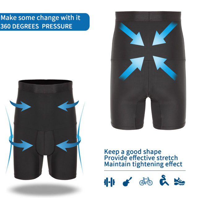Mens Body Shaper Compression Shorts Waist Trainer Tummy Control Slimming Shapewear Modeling Girdle Anti Chafing Boxer Underwear
