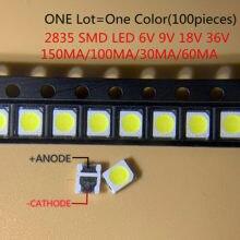 Alto brilho smd led 2835 1w branco 100 pçs/lote 3v 6v 9v 18v 36v 150ma/100ma/30ma/60ma/350ma