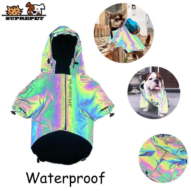 SUPREPET Dog Raincoat Jumpsuit Rain Coat Reflective Jacket Waterproof Jumpsuit Coat Clothes For Bulldogs Chihuahua Teddy