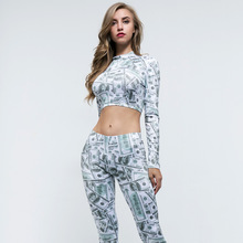 summer outfits for women tracksuit casual printing long sleeve fitness sports wear crop top and pants high waist 2 pieces sets