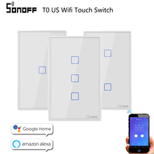 Sonoff  WiFi Smart Switch T0 T3 US  1 2 3 Gang Wall Touch Panel Wireless Remote lamp Smart Home Controller by Alexa Google Home