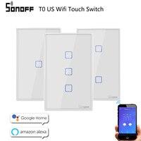 Sonoff WiFi Smart Switch T0 UNS EU 1 2 3 Gang Wand Touch Panel Wireless Remote lampe Smart Home Controller durch Alexa Google Hause-in Heimautomatisierungsmodule aus Verbraucherelektronik bei