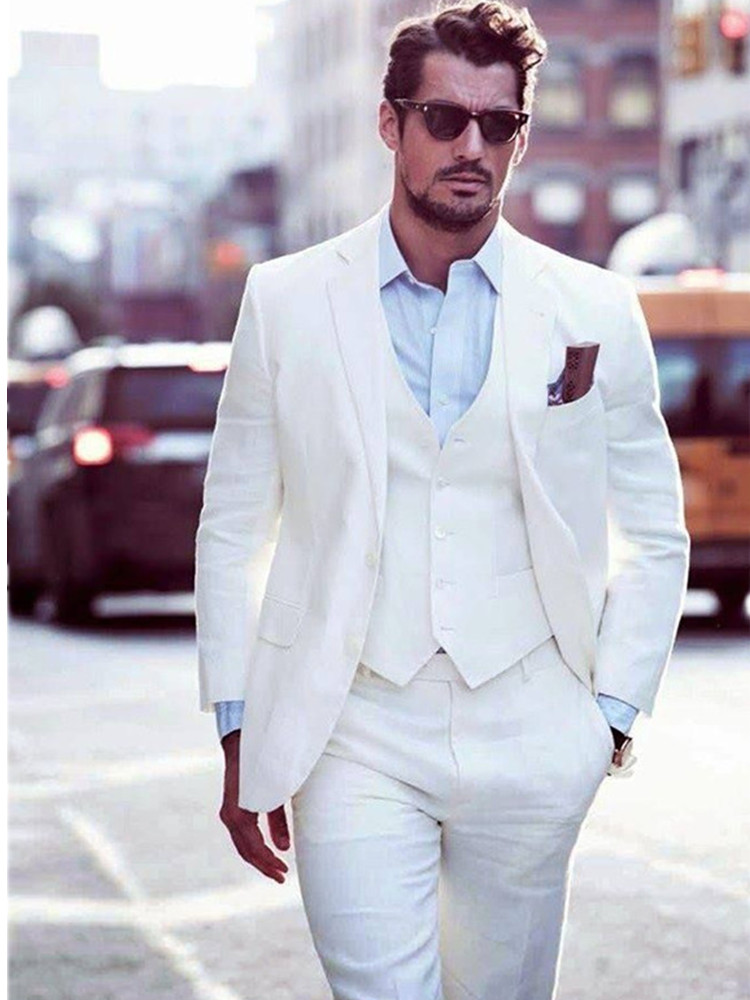 Custom Made Men Groom Wedding Suits Ivory Groomsmen Tuxedos Formal Party Suits