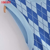 Tangada Fashion Women Plaid Pattern Elegant Sweater Dress Sleeveless O Neck Ladies Mini Dress 3H290 4
