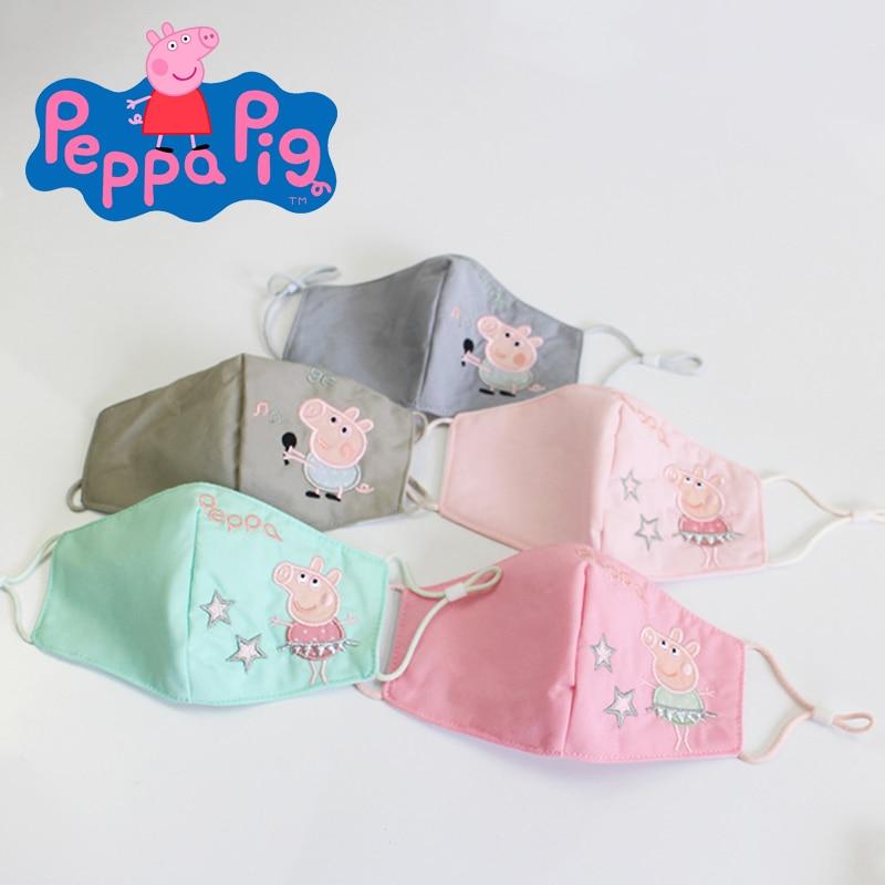 Peppa Pig Mask Washable Children's Cartoon Dust Masks, Anti-fog and Adjustable Cotton Masks