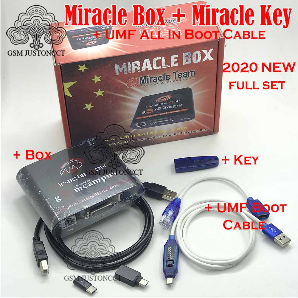 2020 NEW Miracle Box with Miracle Key Dongle + UMF All Boot cable for china mobile phones Unlock Repairing unlock(China)