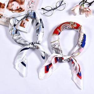 Image 5 - Damen gedruckt griff tasche multifunktionale foulard wraps hijab taschentuch kopf bandana imitiert silk moslemischer quadratischer schal
