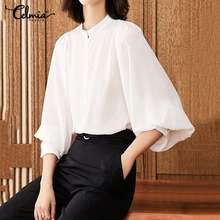 Stylish Tunic Tops Women 2020 Celmia Vintage Solid Blouses L