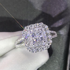 Women Ring Crystal-Zircon Square-Shape Micro-Pave Iced-Out Wedding Huitan Full-Bling