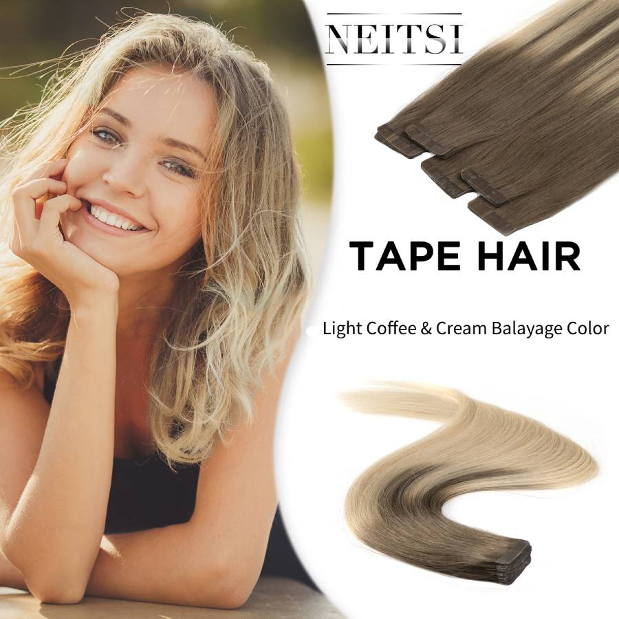 Neitsi Remy Tape In Human Hair Extensions Double Drawn Adhesive Straight Hair Skin Weft 20