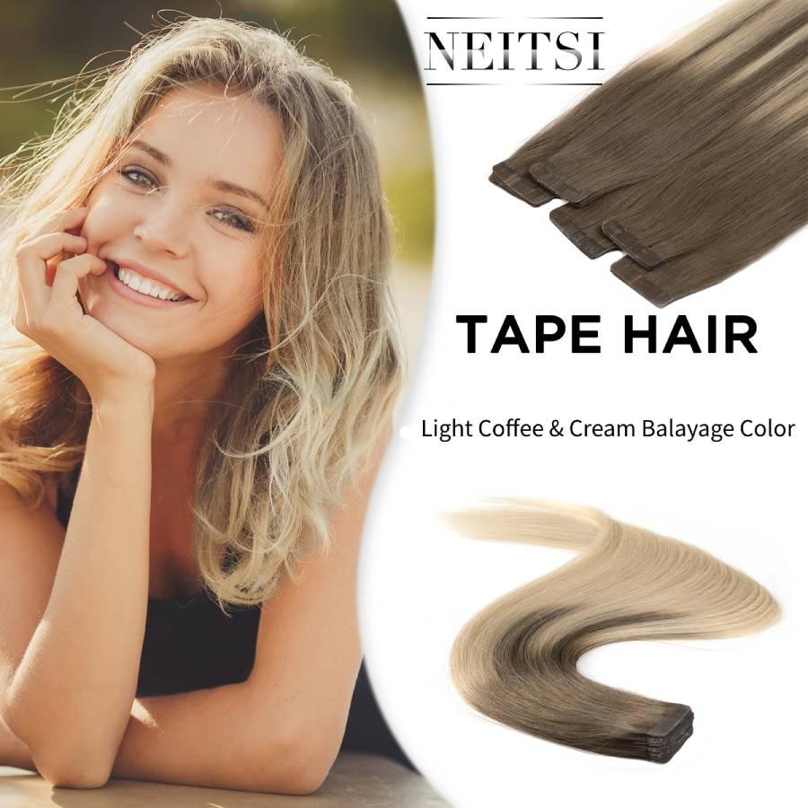 """Neitsi remy fita em extensões de cabelo humano dupla desenhada adesiva trama reta da pele do cabelo 20 """"2.5 g/s balayage colorido"""