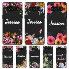 Flower Custom Name DIY Black Soft TPU Silicone Case Cover For Samsung Galaxy Note 3 4 5 8 9 10 Plus M10 M20 M30 Grand Prime