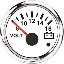 8 16V/16 32V Voltmeter 52mm Volt Meter Car Gauge Voltage For Marine Boat Truck Motorcycle RV Red Backlight 12V/24V Indicator