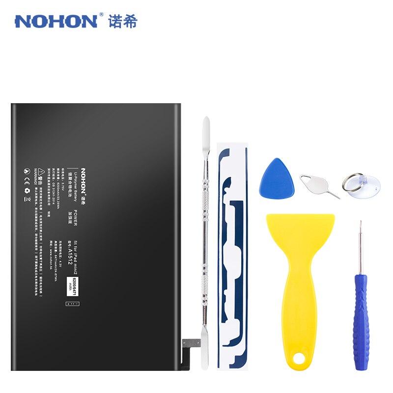 Batterie NOHON pour Apple iPad Mini 2 3 A1489 A1490 A1491 A1599 Mini2 Mini3 6471mAh remplacement Lithium polymère Bateria outils gratuits