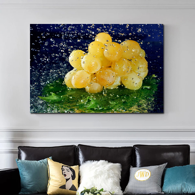 Frameless Home Kitchen Decoration Wall Art Canvas Posters Grapes In Water Painting Picture Artwork