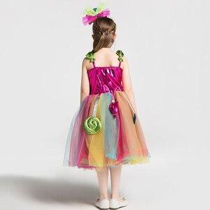 Image 5 - Dziewczyny szkolne kostiumy sceniczne dzieci tęczowe cukierki sukienka z dzianiny dzieci Lollipop modelowanie tiulowa sukienka balowa z pałąkiem na głowę