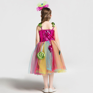 Image 5 - Girls School Performance Costumes Kids Rainbow Candy Knitting Dress Children Lollipop Modeling Tulle Ball Gown With Headband