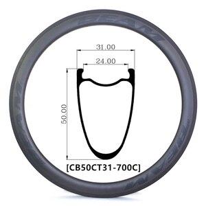 [CB31CT50-700C] ультралегкие 440 г 31 мм ширина 50 мм Глубина 700C углеродный гравий CX дорожные бескамерные колеса клинчер Углеродные колеса