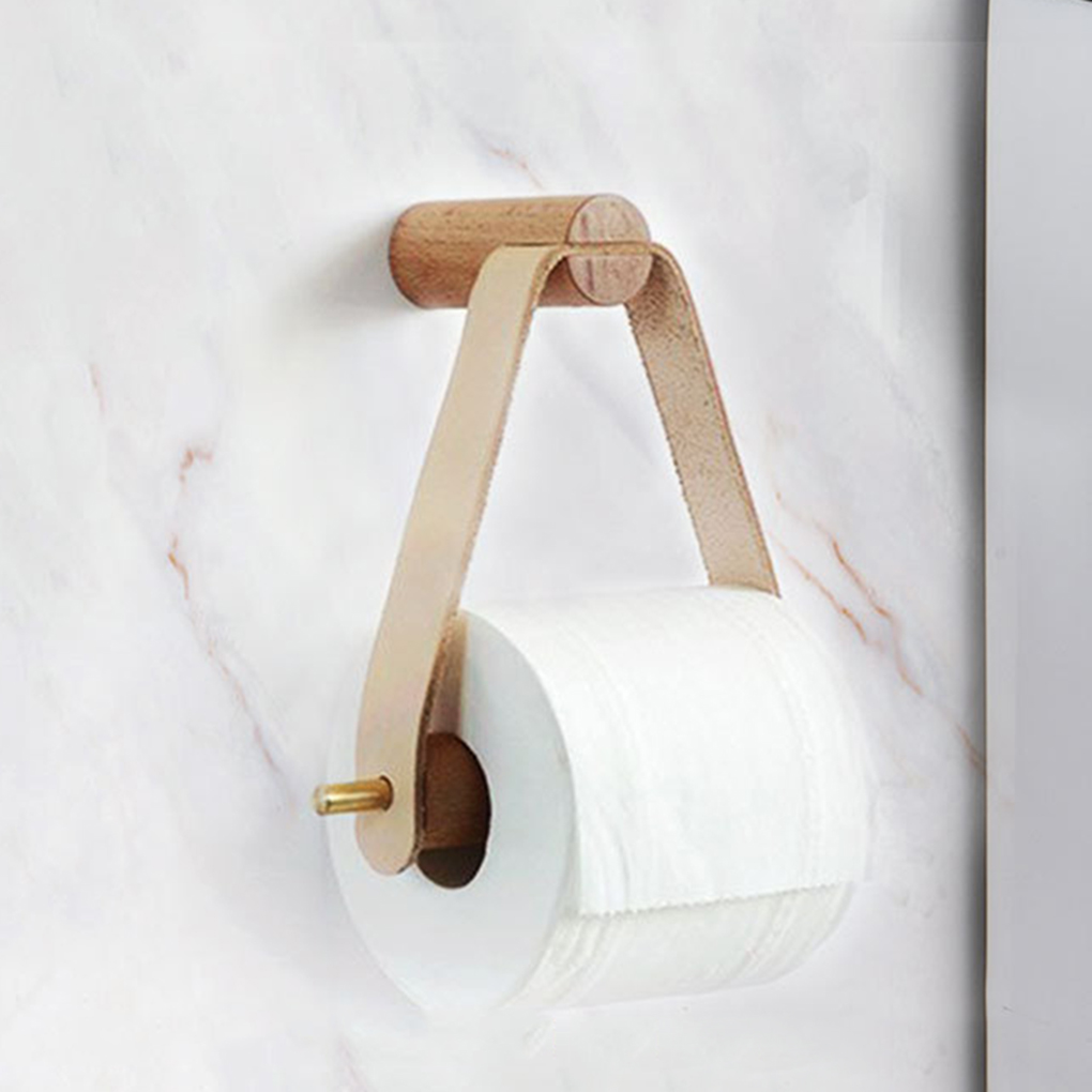 Wooden Rolled Toilet Paper Holder Bathroom Storage Paper Hand Towel Dispenser Toilet Tissue Paper Rack
