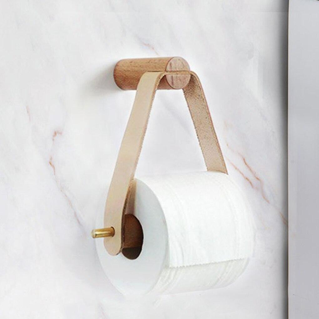 Wooden Rolled Toilet Paper Holder Bathroom Storage Paper Hand Towel Dispenser Toilet Tissue Paper Rack