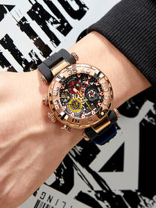 Sport ceasuri cronograf schelet trandafir-aur impermeabil top-brand reloj tigru / rt mens