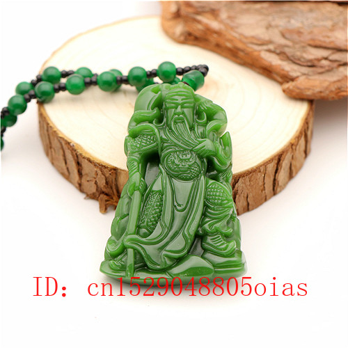 Natural Green Chinese Jade Guangong Pendant Beads Necklace Fashion Charm Jadeite Jewelry Carved Amulet Gifts For Women Men