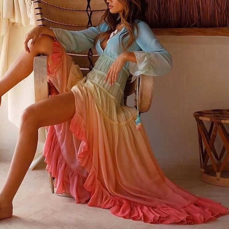 Profondo Scollo A V A Maniche Lunghe Gradiente Vestito Sexy di Modo Delle Donne Eleganti Vestiti Da Partito Maxi Dress Vestito Estivo Casual delle Donne Abbigliamento 2019