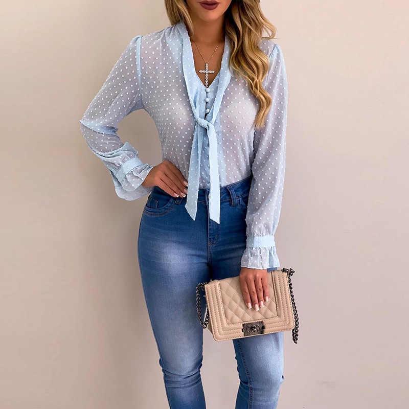 PLUS ขนาดผู้หญิง Elegant Bow Tie คอ Polka Dot เสื้อ 2019 ฤดูใบไม้ผลิ Casual ไข่มุกปุ่มเสื้อสำนักงาน Lady Workwear เสื้อ