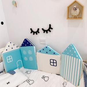4Pcs Baby Bed Bumper Little House Pattern Crib Protection Infant Cotton Cot Soft Cradle Guard Safe Baby Bed Room Decoration