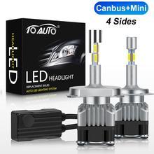 Canbus Mini 4 Sides LED H1 H4 H7 H11 HB4 9006 HB3 9005 LED Car Lights Auto Headlight Bulbs 5400K 12V Head Lamp