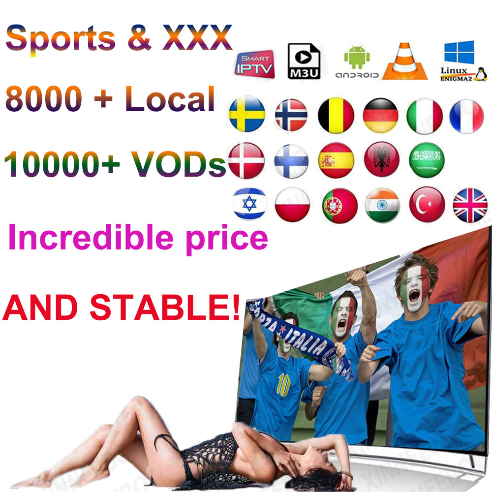 Sports XXX 1 Year Iptv Subscription Europe Iptv Portugal Spain Italy USA Dutch Iptv M3u For Smart TV Android Box X96 Mini