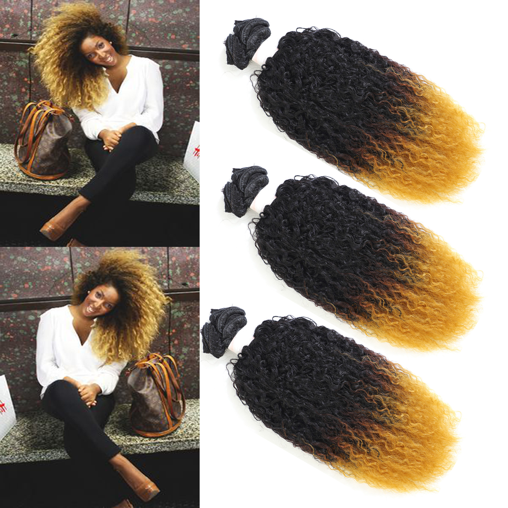 Image Beauty Afro Kinky Curly Hair 16inch 6 Bundles/lot Ombre Yellow Synthetic Hair Weave 230g All In One Hair Extension