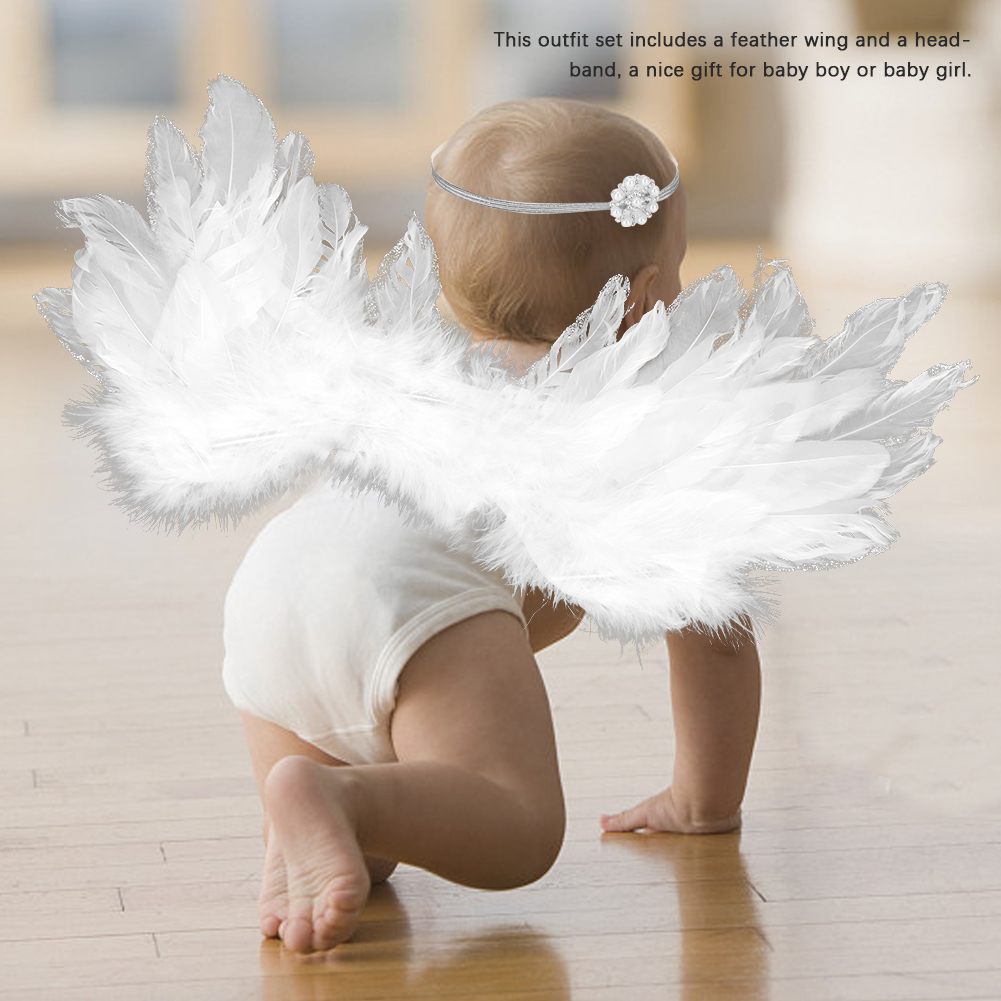 New Cute Angel Wing Newborn Photography Props Soft Baby Girls Boys Feather Clothes Skirt Set Baby Hat Newborn Photography