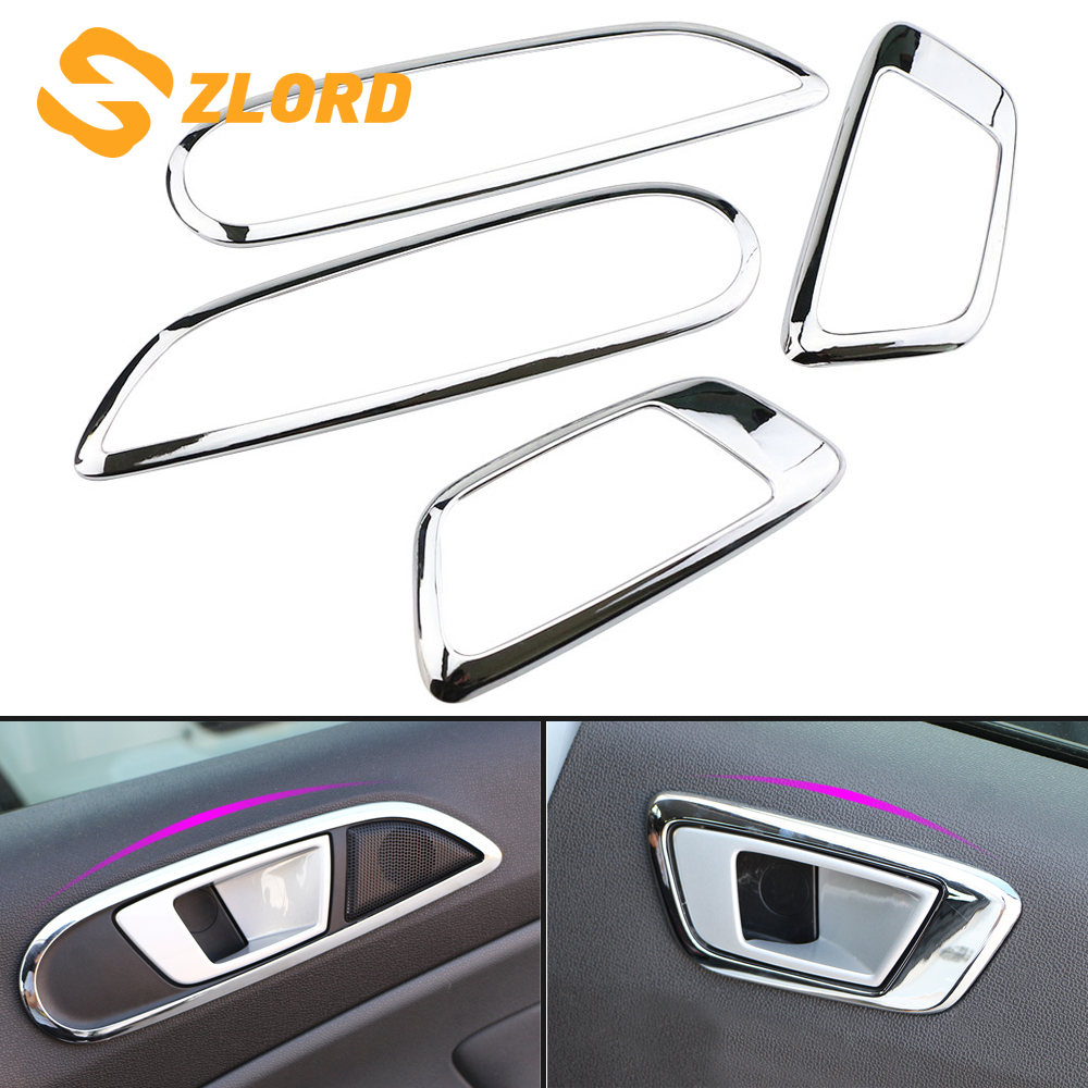 Car ABS Chrome Interior Trim Doors Hand-clasping Decoration Ring Sticker for Ford Ecosport New Fiesta 2009 - 2017 Accessories
