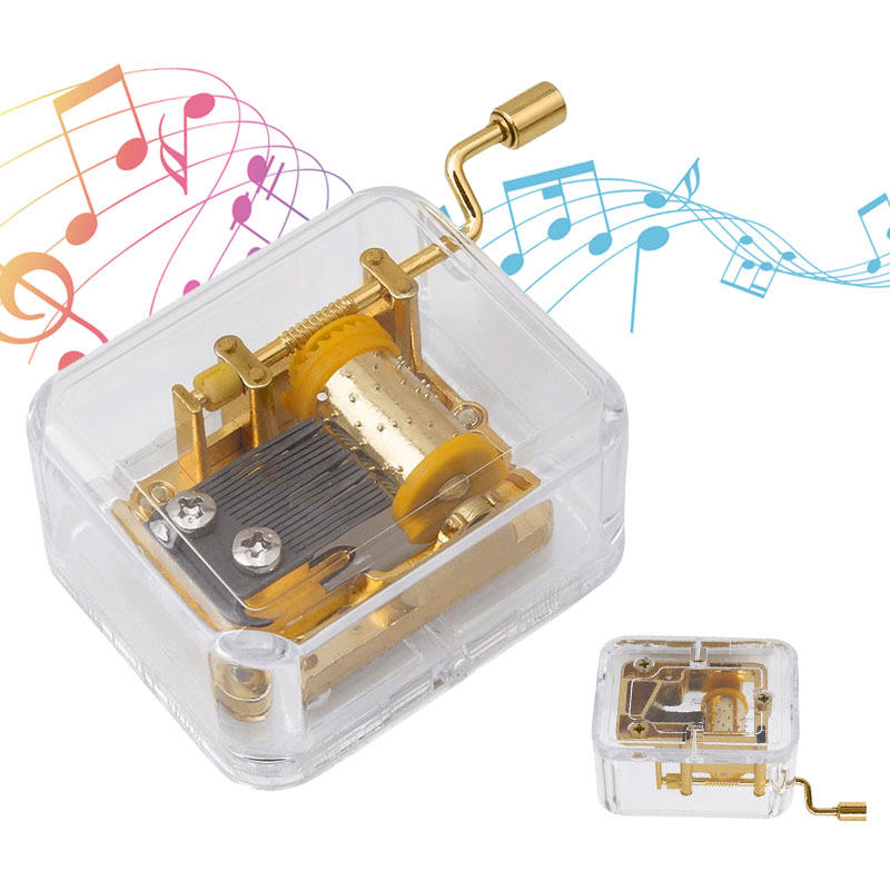 High Quality Acrylic Hand Crank Metal Movement Music Box Kids Toy Xmas Birthday Gift