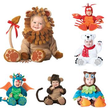 Baby Boy Girl pajacyki Cartoon zwierząt Cosplay pajacyki maluch karnawał boże narodzenie kostiumy na halloween dzieci kostium kombinezony ubrania tanie i dobre opinie CN-RUBR Dla dzieci Pasuje prawda na wymiar weź swój normalny rozmiar COTTON 7-9 miesięcy 10-12 miesięcy 13-18 miesięcy