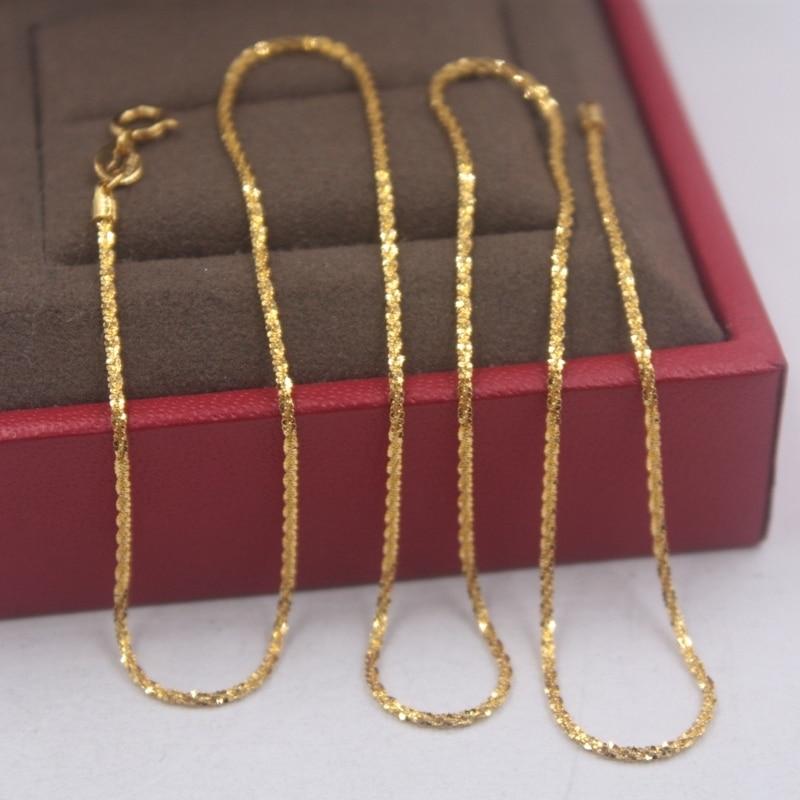 Pure 18k or jaune chaîne unisexe chance 1mmW pleine étoile lien chaîne collier 18 pouces 2.15g