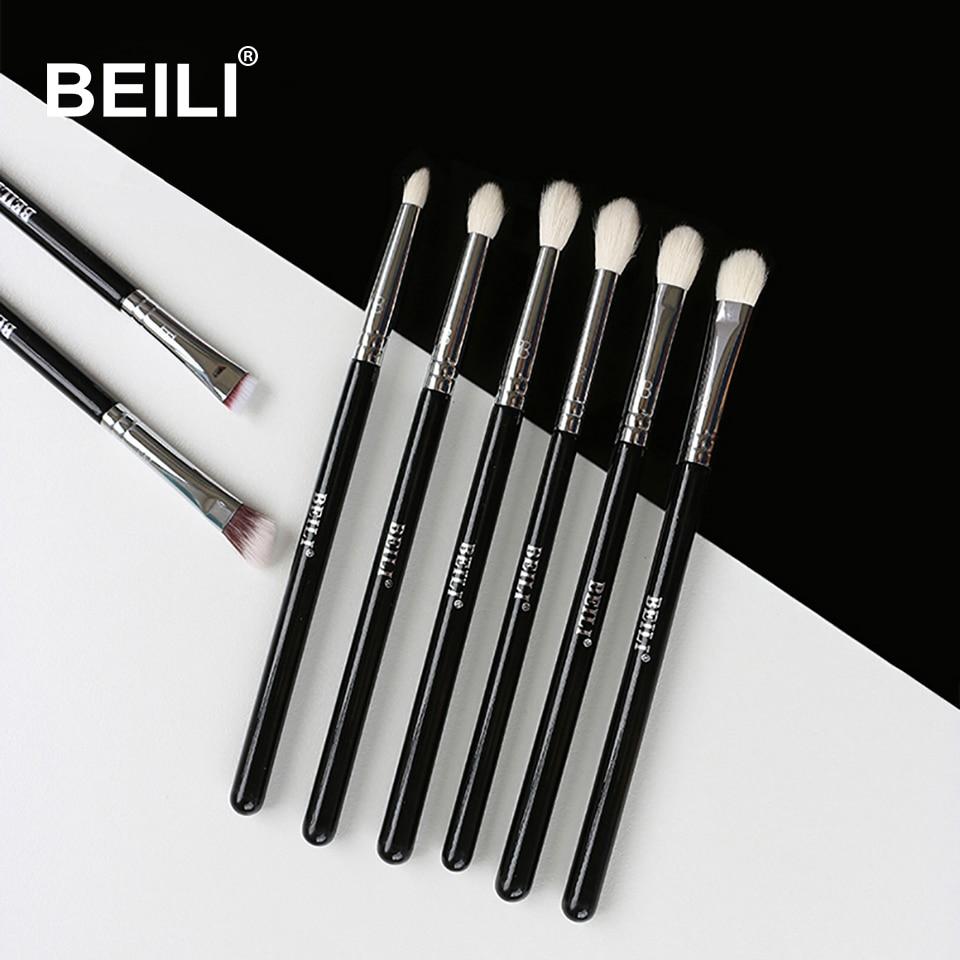 BEILI 8pcs Classic Black Pro Makeup Brushes Goat Synthetic Hair Eye Shadow Brow Blending Smoky Makeup Brush Set
