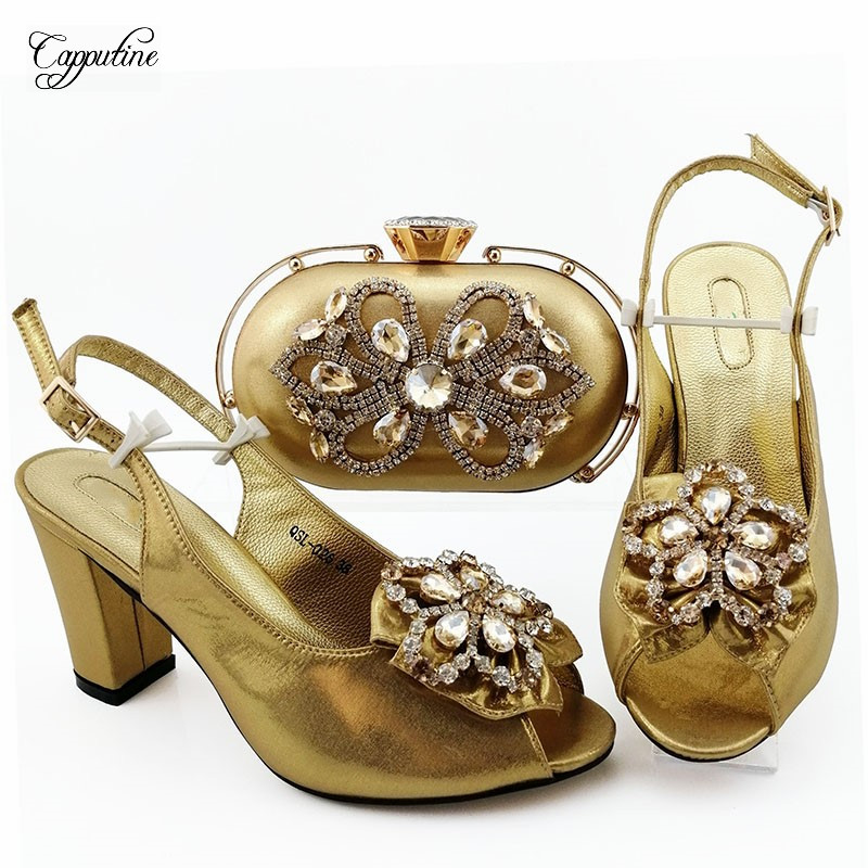Popular dark green shoes with bag sets Fashion Italian design shoes and purse series QSL026, heel height 9cm - 6