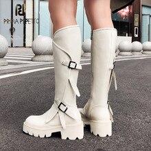 Женские длинные сапоги до колена, высокие белые сапоги из натуральной воловьей кожи на платформе в стиле панк для езды на ночном клубе