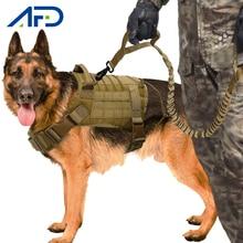 Arnés táctico militar para perros Chaleco de trabajo para perros, correas de nailon para mascotas, entrenamiento de plomo para correr para perros medianos y grandes, Pastor Alemán