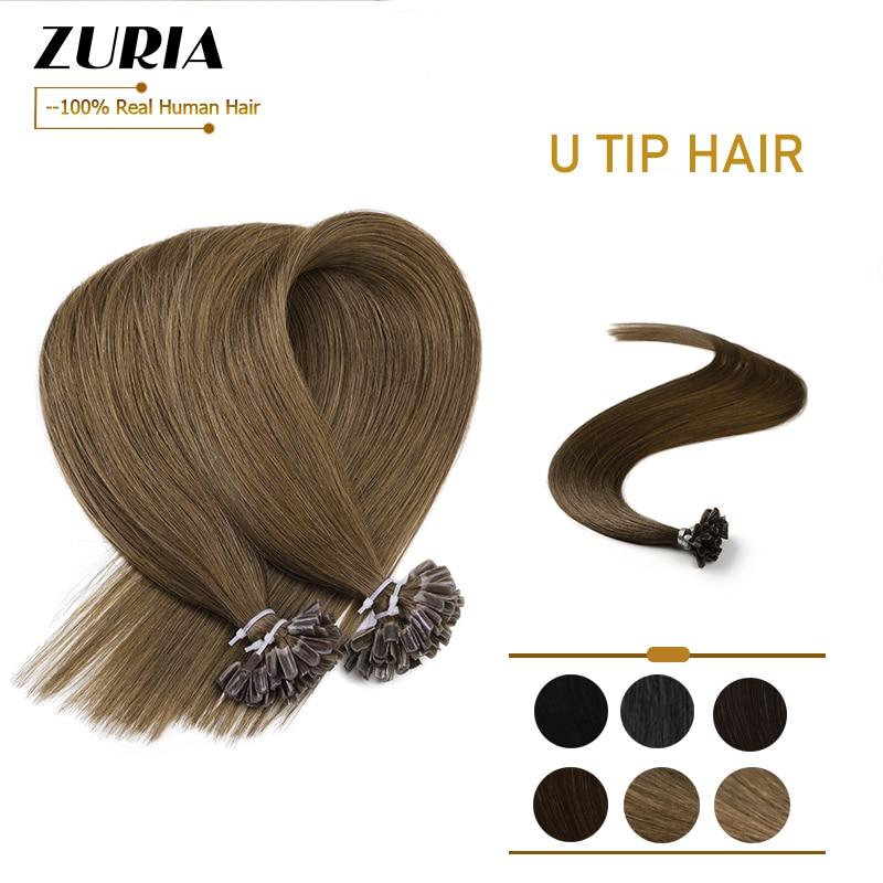 Zuria fusão extensões do cabelo do prego u ponta pré-ligação do cabelo humano no capsuel natural máquina reta remy cabelo 12 16 16