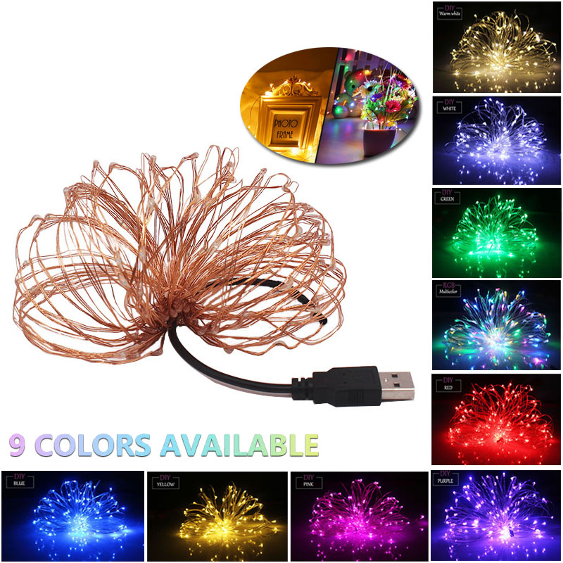 Fairy Light String Battery Powered USB Waterproof 2M 5M 10M 100 LED String 33FT Silver Copper Line Firefly Holiday Light Strip