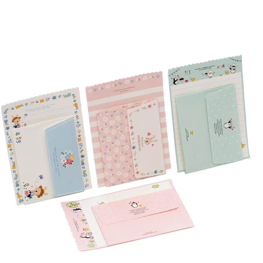 30set/lot Kawaii Animal Mini 92*135mm Cartoon Greeting Card Message Card Letter Stationary Letter Paper Set Four Design