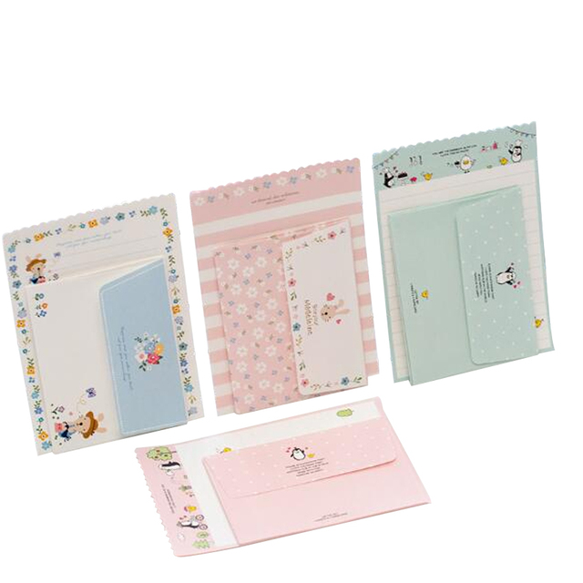 Lote de 30 unidades de Mini tarjetas de felicitación de dibujos animados Kawaii, juego de papel de carta, diseño de cuatro letras, 92x135mm