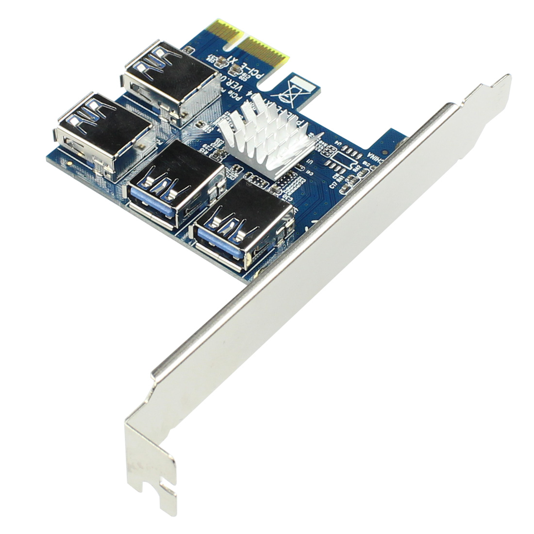 PCIE PCI-E PCI Express Riser Card 1x to 16x 1 to 4 USB 3.0 Slot Multiplier Hub Adapter For Bitcoin Mining Miner BTC Devices-1